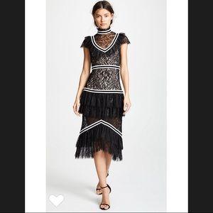 "Alice and Olivia ""Annetta Tiered Lace Midi Dress"""